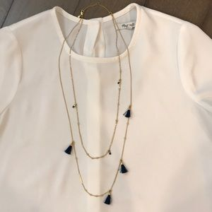 Madewell Gold multi strand tassel necklace